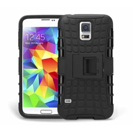 Heavy Duty Strong TPU Case Cover Stand For Samsung Galaxy S5 - Black