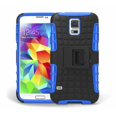 Heavy Duty Strong TPU Case Cover Stand For Samsung Galaxy S5 - Blue