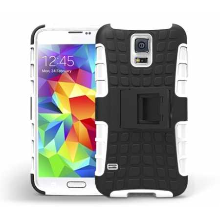 Heavy Duty Strong TPU Case Cover Stand For Samsung Galaxy S5 - White