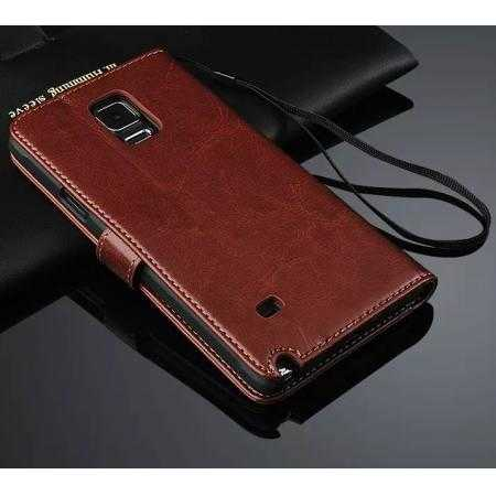 Crazy Horse Grain Leather Stand Case for Samsung Galaxy Note 4 W/ Card Holder - Brown