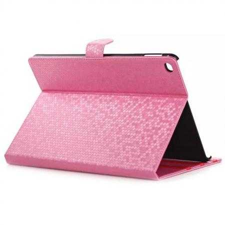 Fashion Diamond Pattern Folio Leather Flip Stand Case for iPad Air 2 - Hot Pink