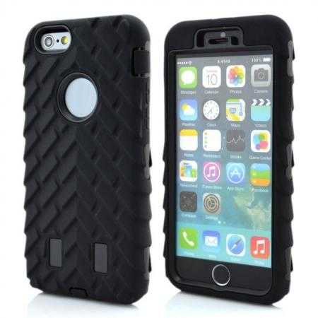 Heavy Duty Hybrid Tire Pattern Rugged Rubber Hard Case Cover for iPhone 6 Plus/6S Plus 5.5 Inch - Black