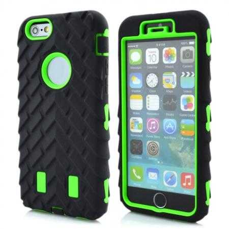 Heavy Duty Hybrid Tire Pattern Rugged Rubber Hard Case Cover for iPhone 6 Plus/6S Plus 5.5 Inch - Green