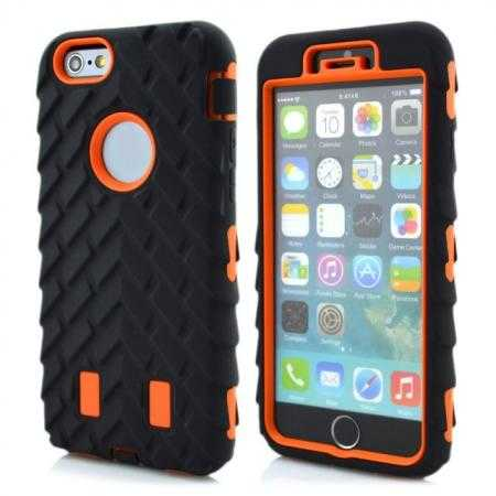 Heavy Duty Hybrid Tire Pattern Rugged Rubber Hard Case Cover for iPhone 6 Plus/6S Plus 5.5 Inch - Orange