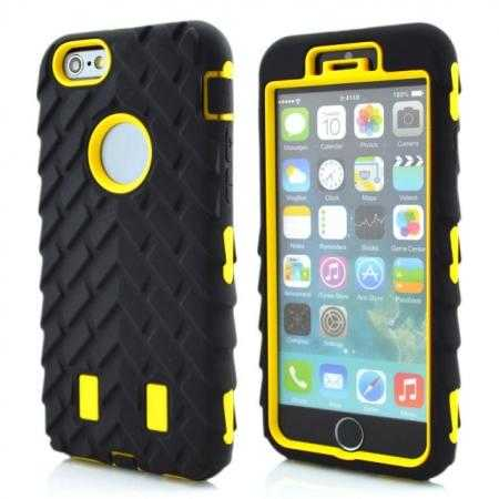 Heavy Duty Hybrid Tire Pattern Rugged Rubber Hard Case Cover for iPhone 6 Plus/6S Plus 5.5 Inch - Yellow
