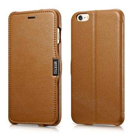 ICARER Litchi Magnet Genuine Leather Flip Stand Wallet Case For iPhone 6 Plus/6S Plus 5.5 Inch - Brown
