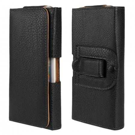 Lichee Pattern Leather Belt Clip Flip Wallet Case For iPhone 6 Plus/6S Plus 5.5inch - Black