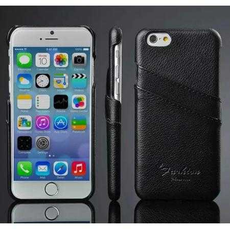 Litchi Genuine Leather Card Holder Hard Back Case Cover for iPhone 6/6S 4.7 Inch - Black