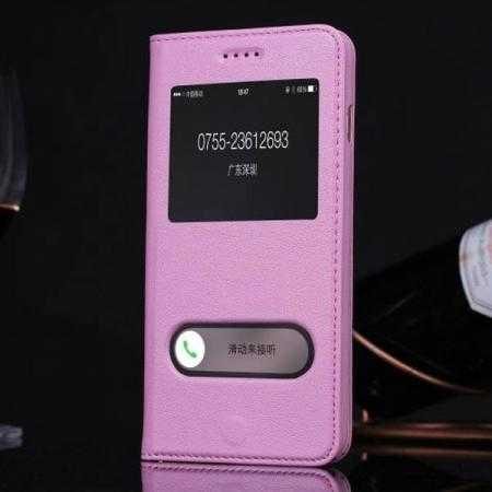 finest selection e3807 a03f4 Luxury Real Genuine Leather Double View Window Flip Case for iPhone 6  Plus/6S Plus 5.5 Inch - Light Purple
