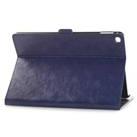 Oil Wax Crazy Horse PU Leather Case With Card Slot For iPad Air 2 - Dark Blue
