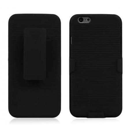 Rubberized Hard Holster Combo Case with Kickstand Belt Clip for iPhone 6 Plus/6S Plus 5.5inch - Black