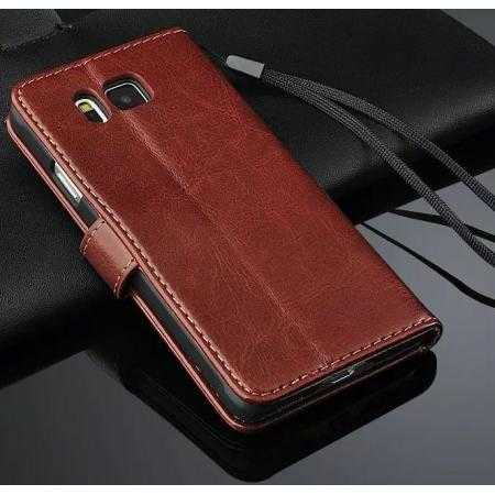 Crazy Horse Grain Leather Stand Flip Case for Samsung Galaxy Alpha W/ Card Holder - Brown