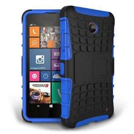Heavy Duty Strong Hard TPU Case Cover Stand For Nokia Lumia 630 - Blue
