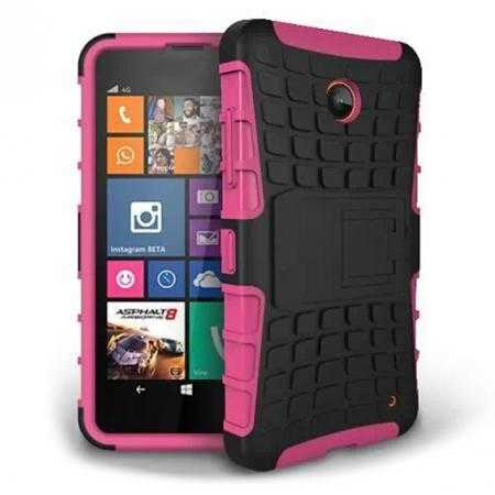 Heavy Duty Strong Hard TPU Case Cover Stand For Nokia Lumia 630 - Hot pink