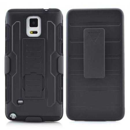 Hybrid Armor Impact Hybrid Holster Protector Combo Case Cover For Samsung Galaxy Note 4 - Black