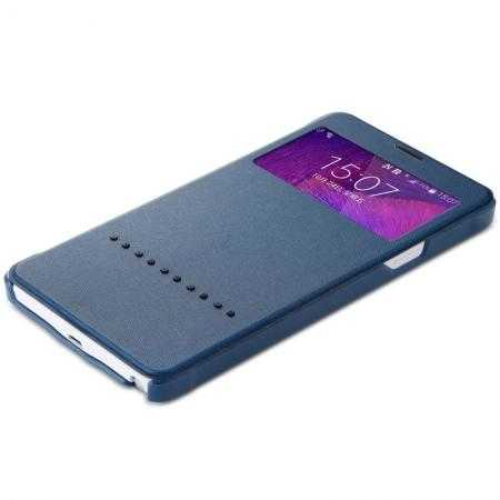 Rock View Window Leather Case for Samsung Galaxy Note 4 N9100 With Smart Sliding Function - Dark Blue
