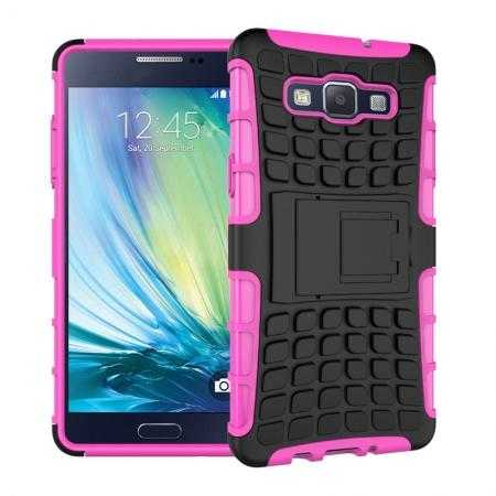 Heavy Duty Strong Tradesman TPU Hard Case Cover Stand For Samsung Galaxy A5 - Hot pink
