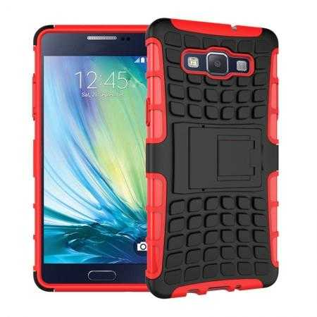 Heavy Duty Strong Tradesman TPU Hard Case Cover Stand For Samsung Galaxy A5 - Red