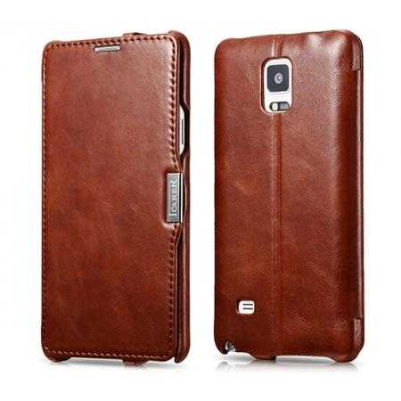 ICARER Vintage Series Genuine Leather Flip Stand Case For Samsung Galaxy Note 4 - Brown