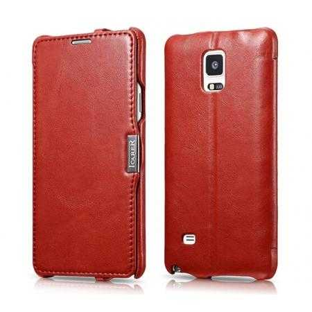 ICARER Vintage Series Genuine Leather Flip Stand Case For Samsung Galaxy Note 4 - Red
