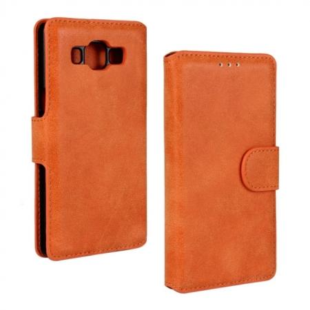 Matte Frosted Flip Leather Stand Case for Samsung Galaxy A5 A5000 WIth Credit Card Slots - Orange
