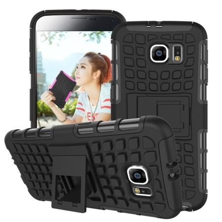 Heavy Duty Strong Tradesman TPU Hard Case Cover Stand For Samsung Galaxy S6 - Black