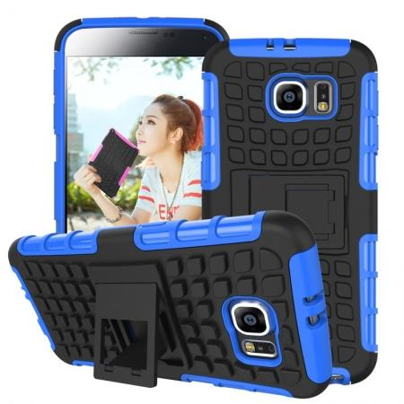 Heavy Duty Strong Tradesman TPU Hard Case Cover Stand For Samsung Galaxy S6 - Blue