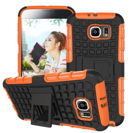 Heavy Duty Strong Tradesman TPU Hard Case Cover Stand For Samsung Galaxy S6 - Orange