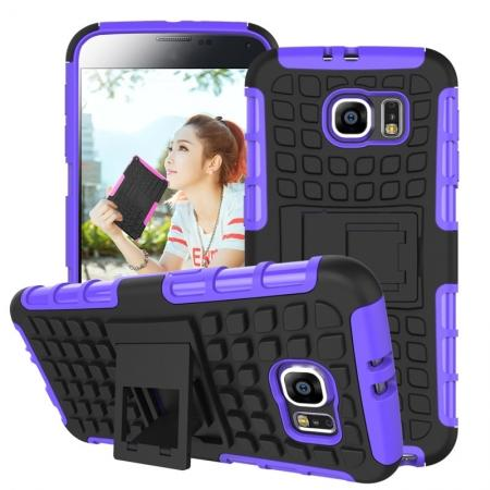 Heavy Duty Strong Tradesman TPU Hard Case Cover Stand For Samsung Galaxy S6 - Purple