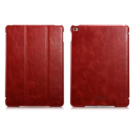 ICARER Vintage Series Genuine Leather Smart Stand Case For iPad Air 2 - Red