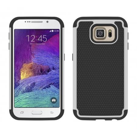 Hybrid Rugged Impact Silicone Hard Back Case Cover For Samsung Galaxy S6 - White