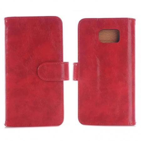 Crazy Horse Skin PU Leather Wallet Stand Case With Card Slots For Samsung Galaxy S6 - Red
