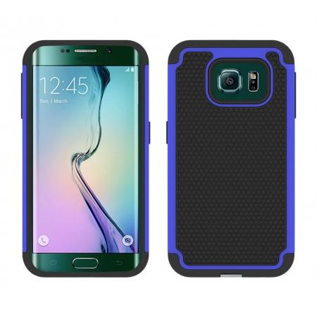 Hybrid Rugged Impact Silicone Hard Back Case Cover For Samsung Galaxy S6 edge - Dark blue