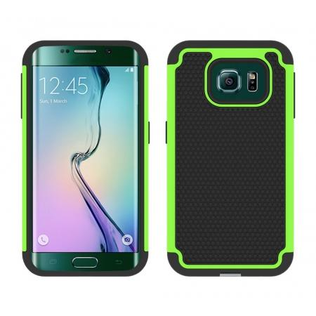 Hybrid Rugged Impact Silicone Hard Back Case Cover For Samsung Galaxy S6 edge - Green