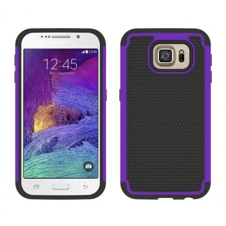 Hybrid Rugged Impact Silicone Hard Back Case Cover For Samsung Galaxy S6 - Purple