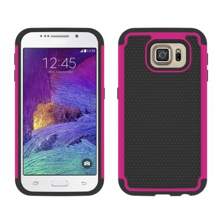 Hybrid Rugged Impact Silicone Hard Back Case Cover For Samsung Galaxy S6 - Rose