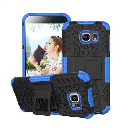 Hyun Pattern Hard Plastic Soft TPU Combo Stand Case For Samsung Galaxy S6 - Blue