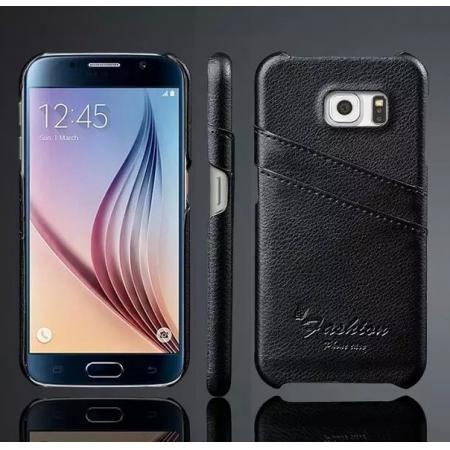 Litchi Genuine Leather Card Holder Hard Back Case Cover for Samsung Galaxy S6 - Black