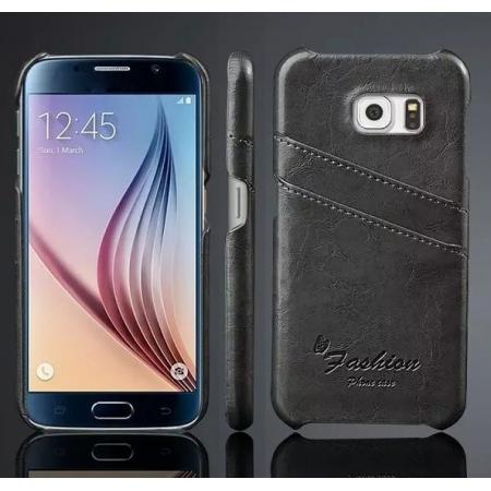 Oil Wax Leather Credit Card Holder Back Shell Case Cover for Samsung Galaxy S6 - Dark Grey