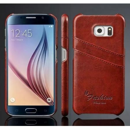 Oil Wax Leather Credit Card Holder Back Shell Case Cover for Samsung Galaxy S6 - Brown