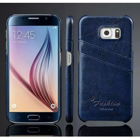 Oil Wax Leather Credit Card Holder Back Shell Case Cover for Samsung Galaxy S6 - Dark Blue