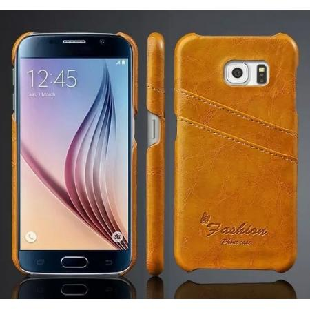 Oil Wax Leather Credit Card Holder Back Shell Case Cover for Samsung Galaxy S6 - Orange
