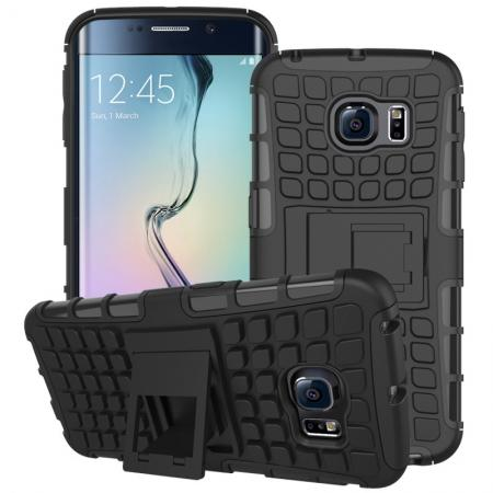 Shockproof Armor Design TPU Hard Case Cover Stand for Samsung Galaxy S6 edge - Black