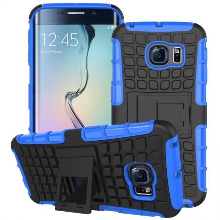 Shockproof Armor Design TPU Hard Case Cover Stand for Samsung Galaxy S6 edge - Blue
