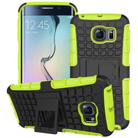 Shockproof Armor Design TPU Hard Case Cover Stand for Samsung Galaxy S6 edge - Green