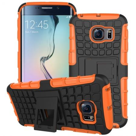 Shockproof Armor Design TPU Hard Case Cover Stand for Samsung Galaxy S6 edge - Orange