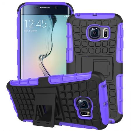 Shockproof Armor Design TPU Hard Case Cover Stand for Samsung Galaxy S6 edge - Purple