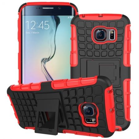 Shockproof Armor Design TPU Hard Case Cover Stand for Samsung Galaxy S6 edge - Red