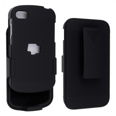 Black Rubberized Hard Case Belt Clip Holster Stand For BlackBerry Q10