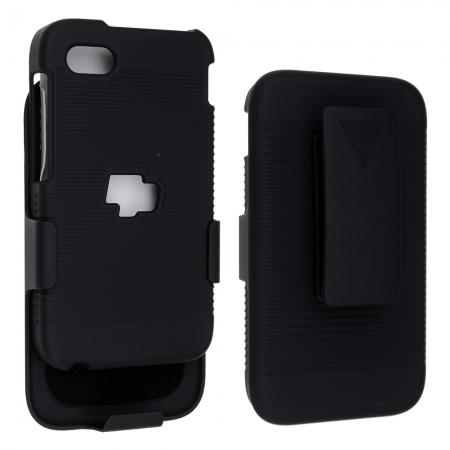 Black Rubberized Hard Case Belt Clip Holster Stand For BlackBerry Q5